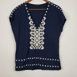 J Crew Embroidered Blouse Size Small